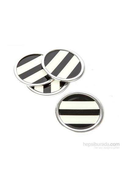 I Love Home Bardak Altlığı 4 Lü Set Siyah Beyaz
