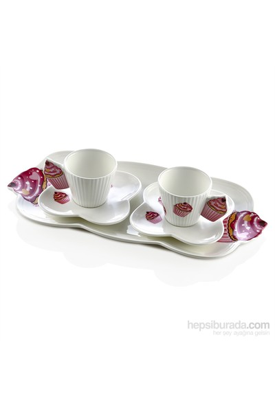 Noble Life Cupcake 2Li Tepsili Kahve Fincan Seti - 22579