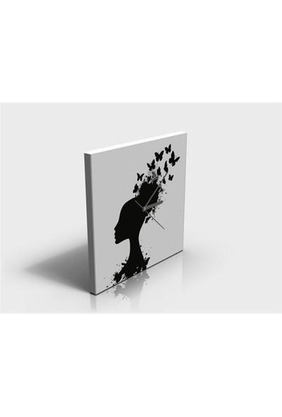 Arte80 - Lady With Butterflies - Kanvas Tablo Saat