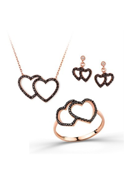 Ejoya Kalp Rose Gümüş Takım