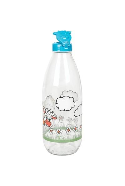 Miradan Desenli Süt Şişesi - 1 Lt (Plastik Kapak)