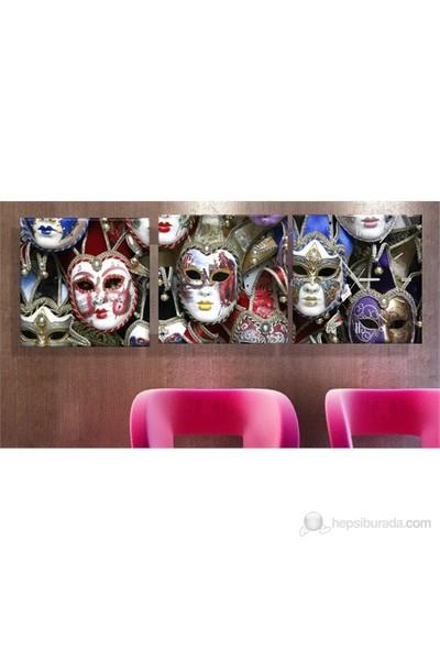 Maskeler 3 Parçalı Tablo Saat