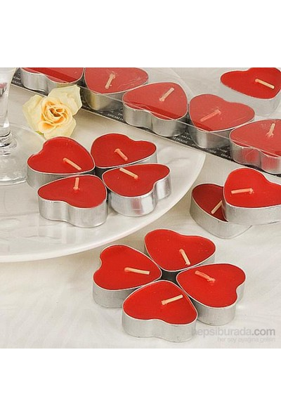Happy Candle 100 Adet Kalp Şeklinde Tea Lights Mum Mm05