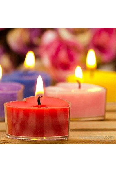 Happy Candle 25 Adet Kalp Şeklinde Tea Lights Mum Mm07
