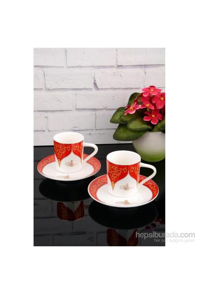Paşahome Altn Yaldızlı Porselen 2 Kişilik Kahve Fincan Seti