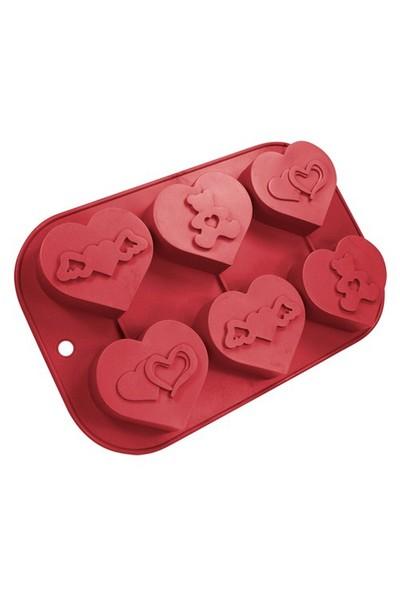 Kalplı 6'lı Muffin Kalıbı