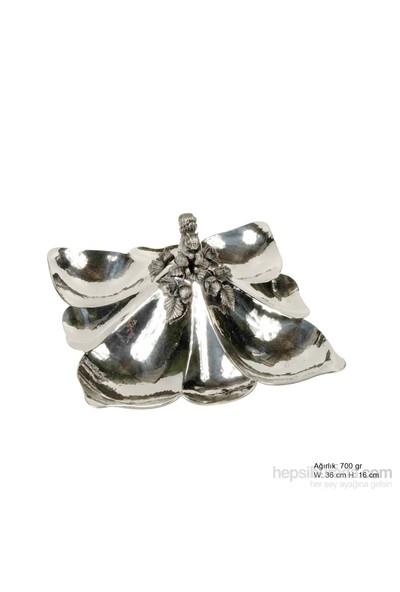 Bayan Lili Sincap Desenli Gümüş Çerezlik