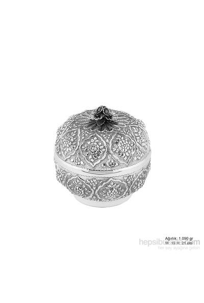 Bayan Lili Papatya Desenli Gümüş Bonbonyer