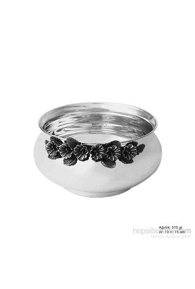Bayan Lili Frezya Çiçek Desenli Gümüş Şekerlik