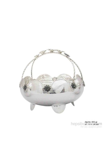 Bayan Lili Çiçek Motifli Gümüş Sepet