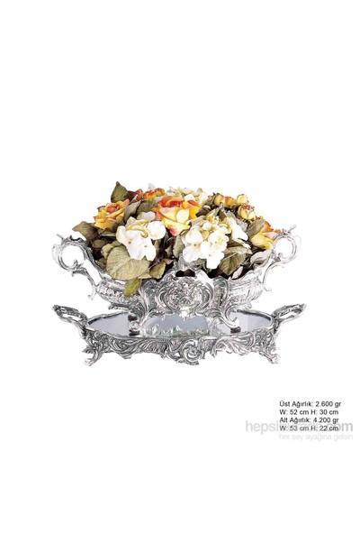 Bayan Lili Çiçekli Gümüş Jardinyer