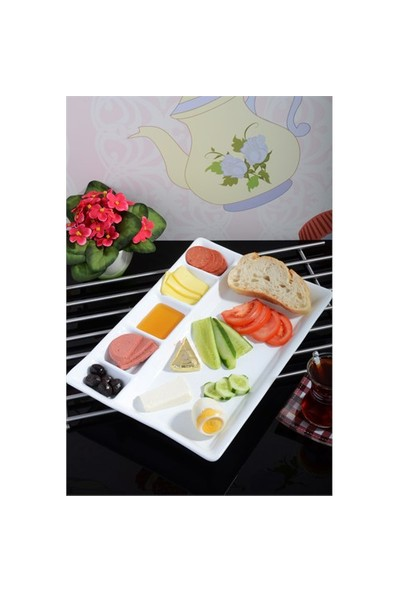 Paşahome Seramik Lüx Bölmeli Kahvaltı Servis Tabağı