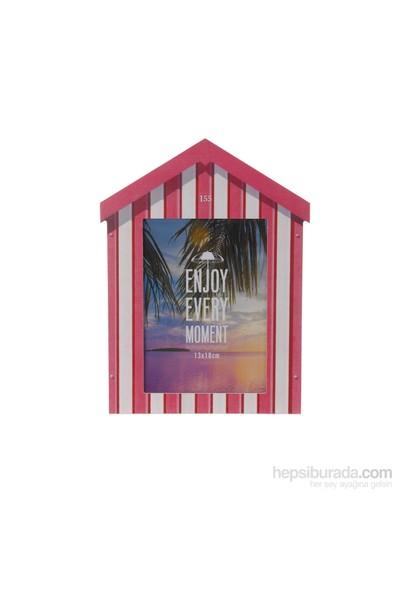 Gold Dekor Plaj Evi Resimlik Kırmızı 13*18