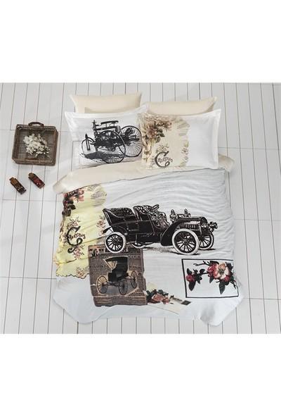 Prima Casa Saten Çift Kişilik Nevresim Takımı Vintage Car