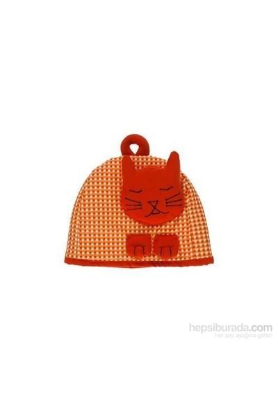Yastıkminder Oranj Kedili Çaydanlık Kılıfı