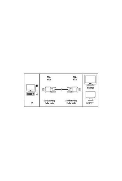 Hama VGA Monitör Kablosu 15pin HDD 3M 41934