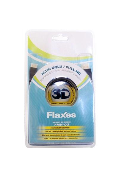 Flaxes FMH-03 Mini HDMI to HDMI 3MT 1.4VR 3D Altın Uç %100 Bakır Blister Kutu