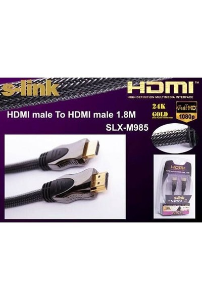 S-Link Slx-M985 S-Lınk 1,8 Metre Hdmı Altın Uçlu Metal Kablo