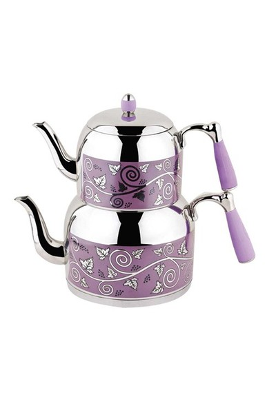 Özkent K-386 Armine Desenli Mini Çaydanlık Lila