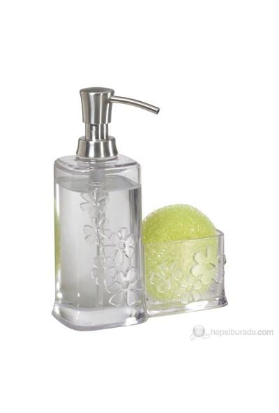 Çiçek Motifli Akrilik/Çelik Süngerlikli Sıvı Sabunluk