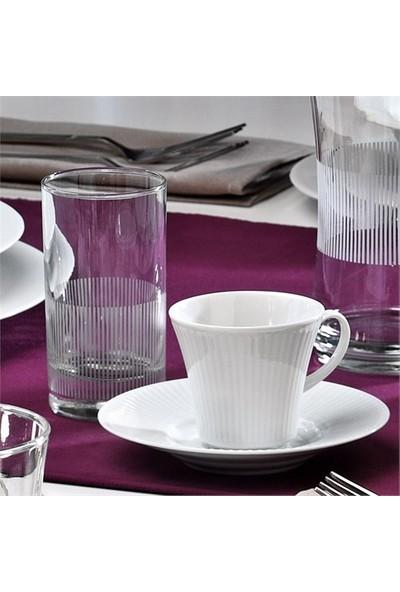 Kütahya Porselen Cisil 6 Parça 2 Kişilik Su Bardaklı Kahve Fincan Takımı