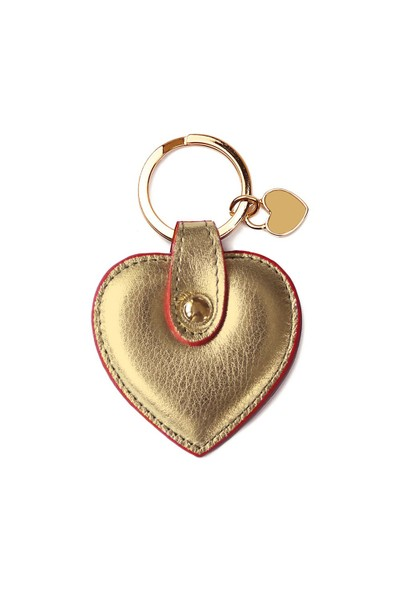 Leather&Paper Altın Deri Kalp Anahtarlık