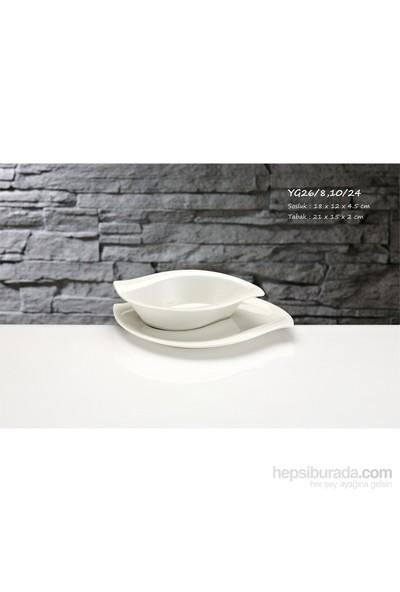 iHouse Yg26 Porselen 2 Li Servis Tabağı Beyaz