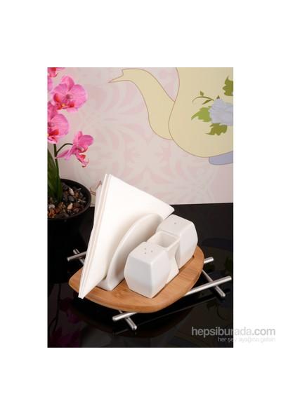 Royal Windsor Bambu Standlı Lüx Porselen Peçetelikli Tuzluk Seti