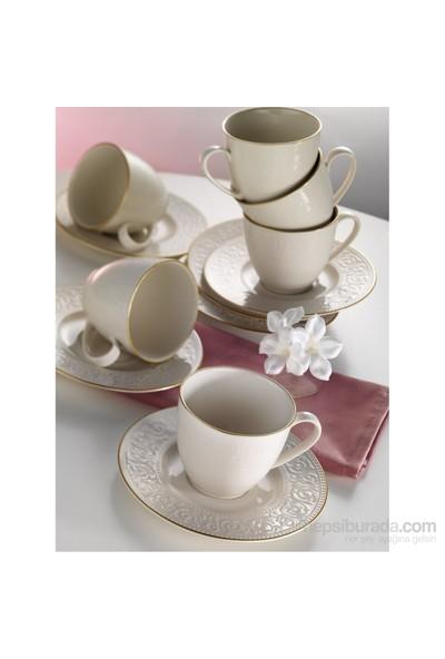 Kütahya Porselen Açelya Krem Kahve Fincan Takımı