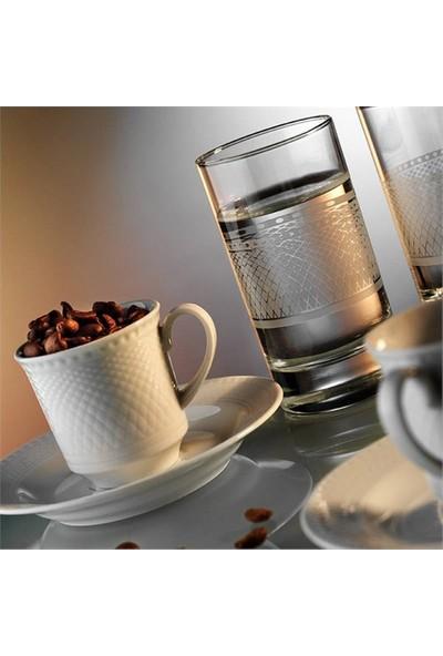 Kütahya Porselen Zümrüt 6 Parça 2 Kişilik Su Bardaklı Kahve Fincan Takımı