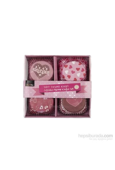 Tantitoni Dört Desenli Kalpli Cupcake Pişirme Kağıdı Seti - 100'Lü