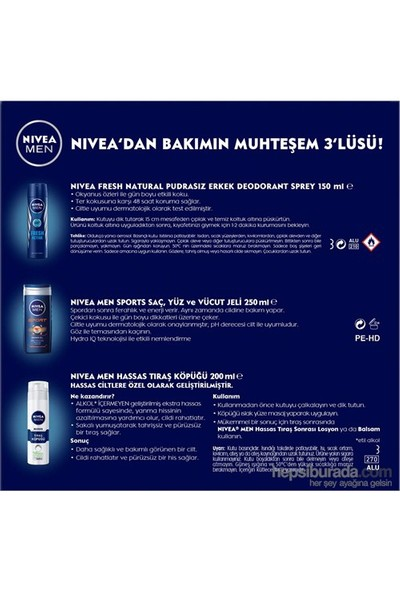 Nivea Men Bakımın Muhteşem Üçlüsü Set (Sprey Deodorant Fresh + Hassas Tıraş Köpük + Sport Duş Jeli 250ml)
