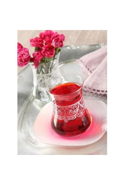 Lav Dantela Çay Seti Pembe 12 Parça