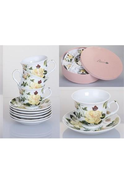 Biev Porselen 6Lı Çay Fincan Seti 220 Cc