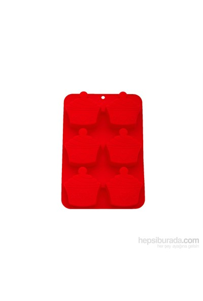 Tantitoni Silikon Kırmızı Cupcake Şekilli Altılı Muffin Kalıbı