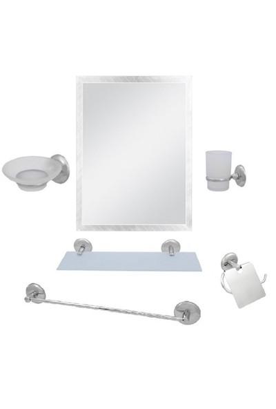 Alper 6 Parça Ayna Seti Kare Ayna Uzun Havluluk