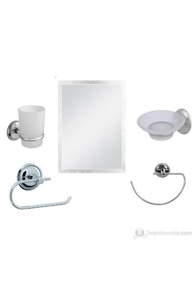 5 Parça Krom Banyo Ayna Seti (Kare Ayna)