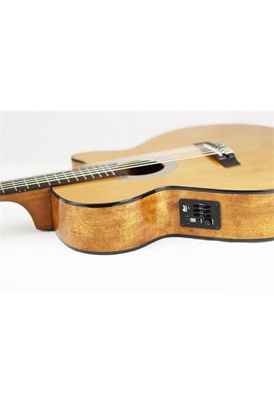 Cort Cec1 Nat İnce Elektro Klasik Gitar Natürel Sfx Kasa Sedir Kapak