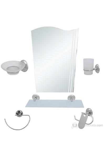6 Parça Krom Banyo Aynalı Set (Bayrak Model)