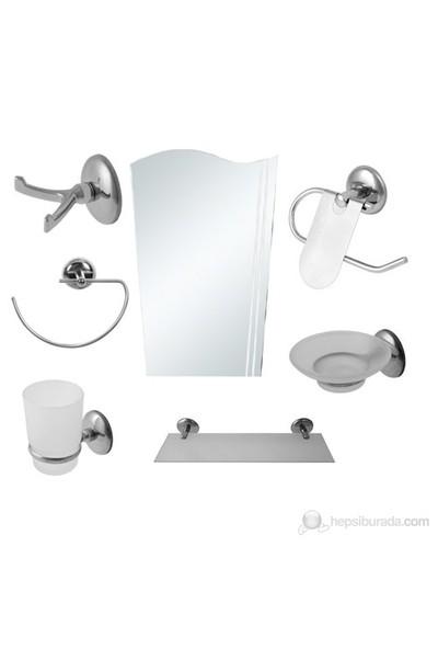 7 Parça Krom Banyo Aynalı Set (Bayrak Model)