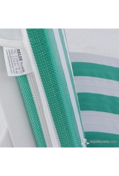 Belde Pilsa Şezlong Minderi- Yeşil/Beyaz