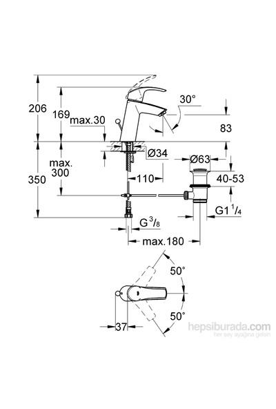 Grohe Eurosmart Tek Kumandalı Lavabo Bataryası - 23322001