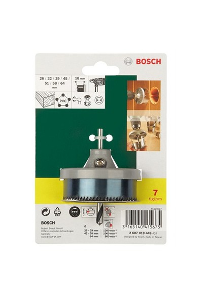 Bosch 2 607 019 449 Delik Açma Testeresi Seti 7 Parça (26/32/39/45/51/58/64 mm)