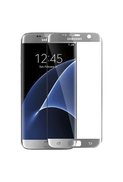 İdealtrend Samsung S7 Edge 3D Kavisli 9H Temperli Cam Ekran Koruyucu Gümüş