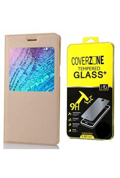 Coverzone Samsung Galaxy J1 Kılıf Pencereli Kapaklı Flip Cover Altın - Cam