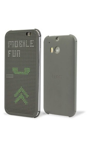 HTC One M8 Dot View Flip Case Gri Kılıf - 99H11415-00