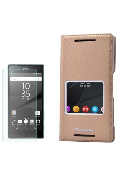 Gpack Sony Xperia Z5 Compact Kılıf Tek Pencereli Dolce + Cam