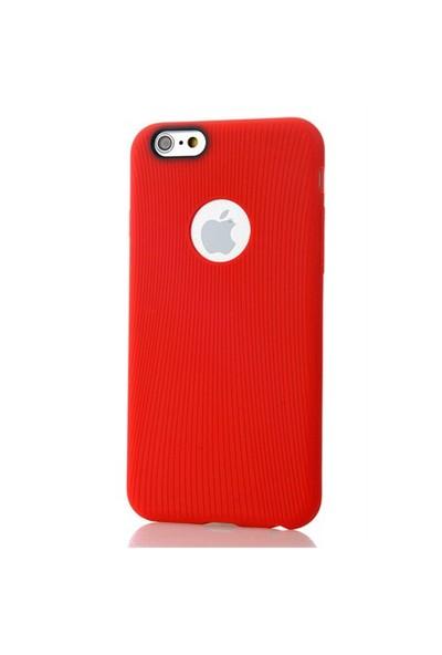 CoverZone İphone 6 Kılıf Silikon Line Model Tpu Kırmızı