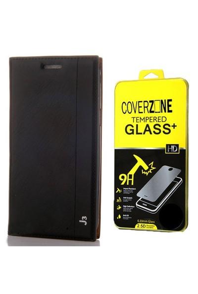 Coverzone Samsung Galaxy J3 Kılıf Kapaklı Magnum Siyah + Cam