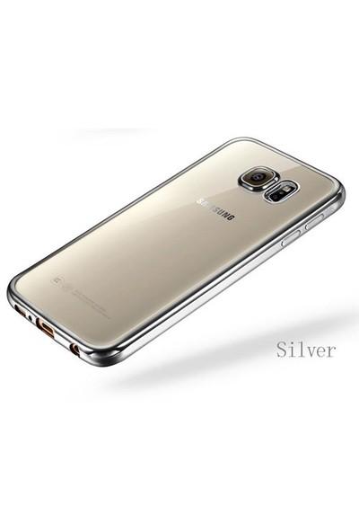 Ebox Samsung Galaxy S6 Kenarları Gümüş Varaklı Şeffaf İnce Silikon Arka Kapak - EBX-0086